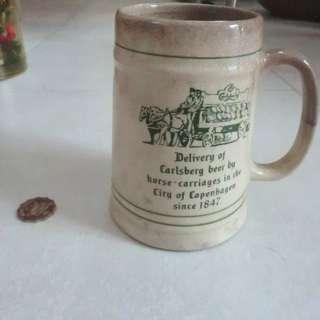 中古 收藏 199X年 嘉士伯啤酒 廣告品 高身懷舊德國款式 啤酒杯