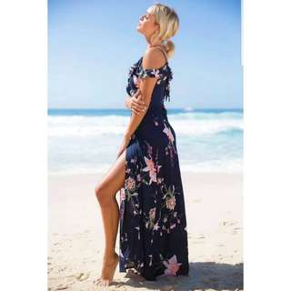 💜BNIP Navy Floral Maxi Wrap Cold Shoulder Dress💜