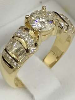 Diamond Ring 750 Yellow Gold 1.60cts Total