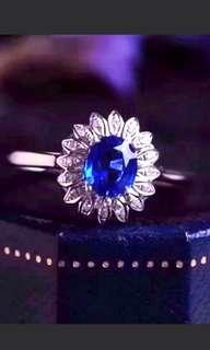 🍀18K White Gold - Natural Blue Sapphire Floral Gem Ring🍍