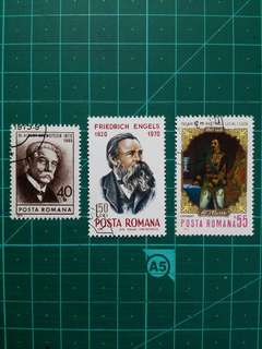[贈品]1970年代 羅馬尼亞 人物紀念 舊票三套