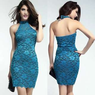 Blue lace qipao dress