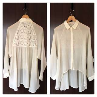 Off white asymmetrical hem button shirt #20under