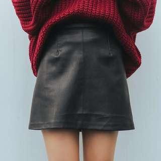 [PO] Black ALine PU Leather Skirt