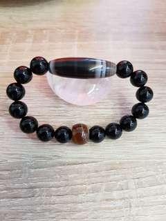 Agate bracelet 天然黑缠丝玛瑙手链