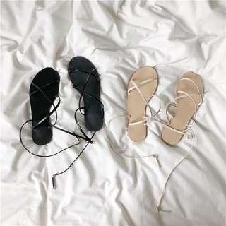 極美自留🖤夏日感交叉小清新平底涼鞋