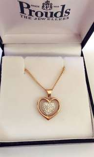 Prouds 9ct Gold, Crystal Double Heart Pendant/ necklace