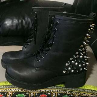 black leather windsor smith doc martin style boots with studded heels