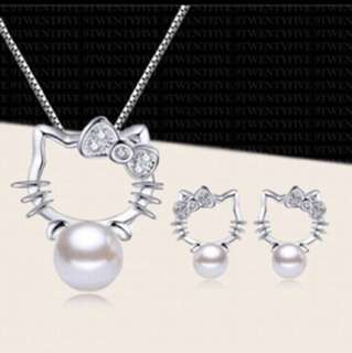 SET PROMO😍S925 Silver #1 Hello Kitty Series Set Necklace Earring