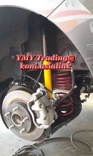 Mazda 3 Upgrades koni sport absorbers with lowering spring setup.