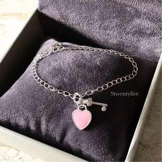 S925 Silver Love Heart Key / Lock Beaded Bracelet Engraved