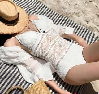 White Lace Monokini Swimsuit