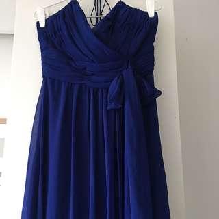 Electric blue chiffon Long gown