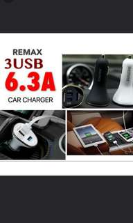 USB car charger - 3 USB (black)