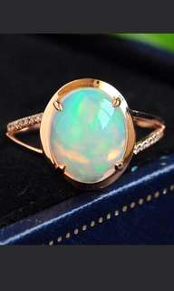 🍍18K Gold - Natural Australia Opal Trendy Ring 🍀