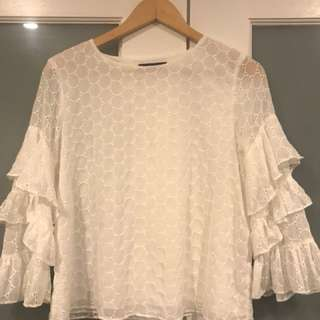 PIPER long-sleeve top with ruffle detail