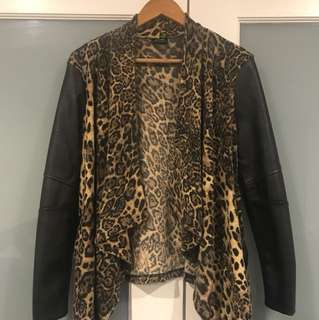 BARDOT jacket in leopard and leather-look sleeves