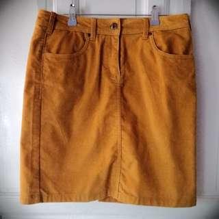 Mustard Yellow Corduroy Skirt