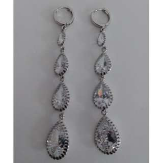 Sparkly Crystal Quartet Drop Earrings - Almost New