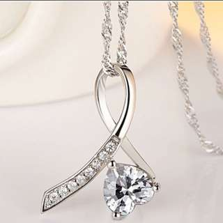 NKLL-027 • S925 Silver Absolute Love Heart Crystal Necklace