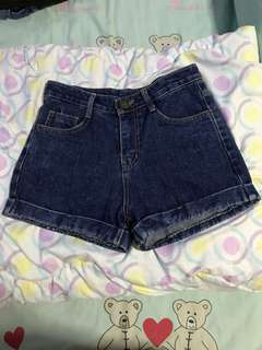Korean High Waist Denim Shorts in Deep Blue Shade.