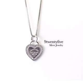 S925 Silver Love Heart Crystal Necklace Engraved  T&Co