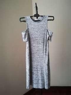 Crop sleeves grey short dress casual cute