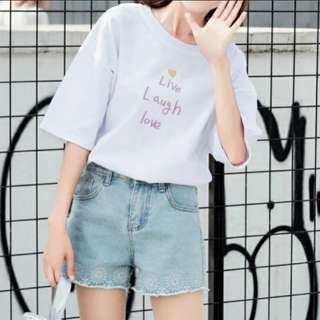 Ulzzang Live Laugh Love Embroidery Top