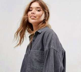 Pull & Bear Oversized Denim Shirt - Grey