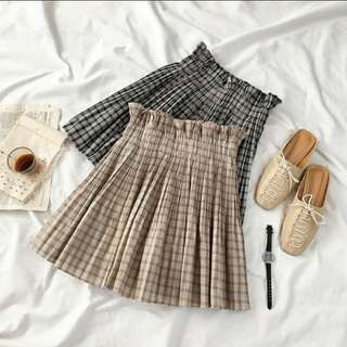 Plaids Ruffled Chiffon Skirt
