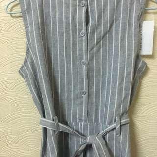 🚚 襯衫 韓系 休閒 條紋 鈕扣 綁帶 洋裝