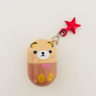 Brown bear capsule pill egg cute roller stamp with chain