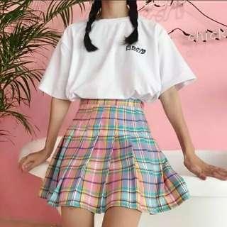 Rainbow Plaids Tennis Skirt
