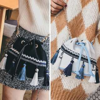 Tassel Bucket Bag Bohemian Drawstring PO Boho Cross Body Chain Mini Canvas