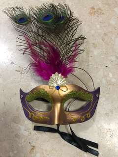 Masquerade Mask in Glitter Green Gold and Purple with Peacock Feather Embellishment