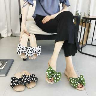 Korean version of the dot cloth bow female summer flat bottom toe flip-flops with soft bottom flat shoes
