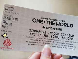 WTS Wanna One SG con Cat 1 Standing Pen C x2 tickets!