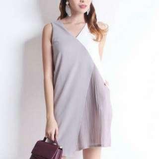 BN grey colorblock pleated dress