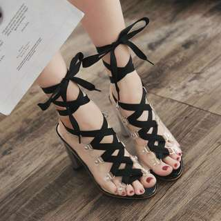 2018 Summer New Plating with Transparency Film Color Matching Bandage Thick with High Heel Sandals