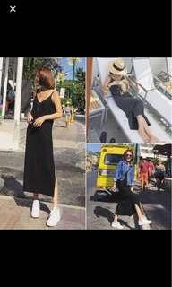 black slit v neck maxi spag dress