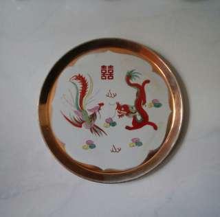 古典雙囍龍鳳陶瓷茶盘