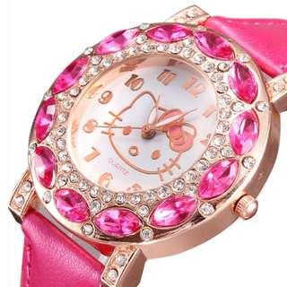 🚚 Hello Kitty 鑲鑽石英錶少女手錶兒童手錶