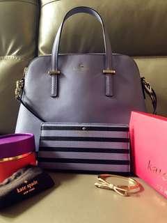 Kate Spade 長銀包 手鈪 兩用手挽袋 全套 粉紫