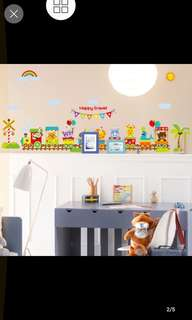 Cute Cartoon Animal Train Wall Stickers Kindergarten Children Room Boy Bedroom Decorative Wall Stickers Home decor
