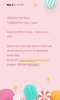 EBOOKS for sale 5 for 1 peso only