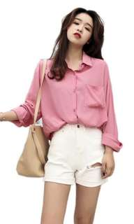 Ulzzang Dusty Pink Blouse Button Up Shirt