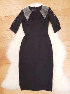 Ginger & Smart Navy Lace Dress Size 6