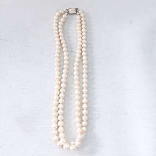 Vintage New Faux Pearl Silver Clasp Double Strand Pearl Necklace Choker Costume Jewellery