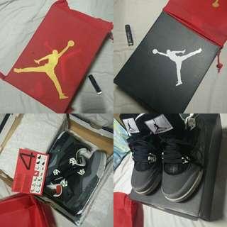Class A Jordan 4 Black Grey White Size 6