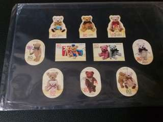 Teddy Bear 泰迪熊 日本郵票10張